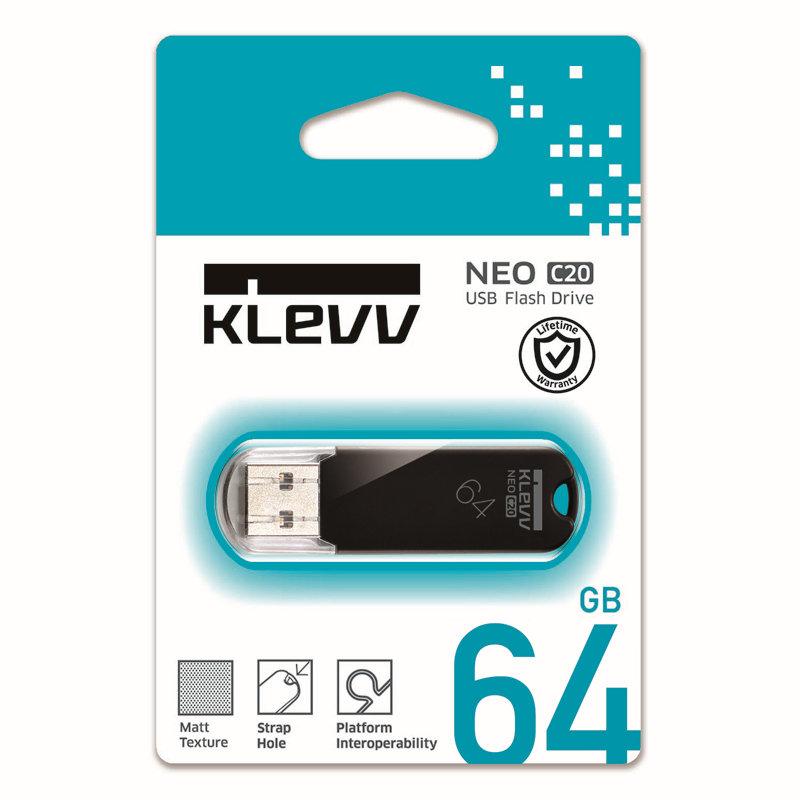 メーカー永久保証 64GB【USBメモリK064GUSB2-C2】Hynix系KLEVVブランド・キャップ付き