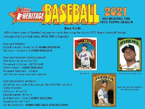 MLB 2021 TOPPS HERITAGE BASEBALL HOBBY BOX