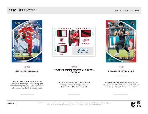 NFL 2020 PANINI ABSOLUTE FOOTBALL HOBBY BOX