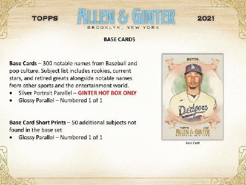 MLB 2021 TOPPS ALLEN & GINTER BASEBALL BOX