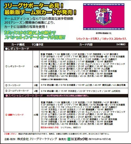 2017 Jリーグ カード チームエディション・メモラビリア セレッソ大阪 BOX