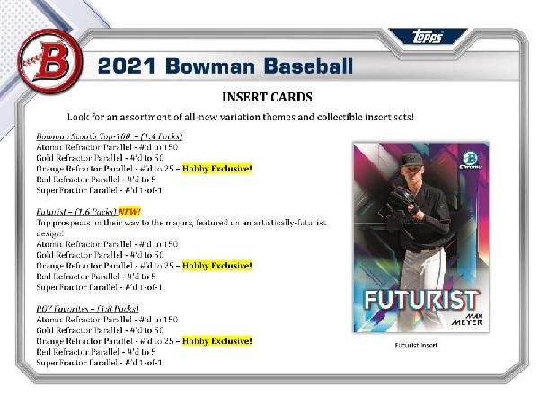MLB 2021 BOWMAN BASEBALL HOBBY BOX