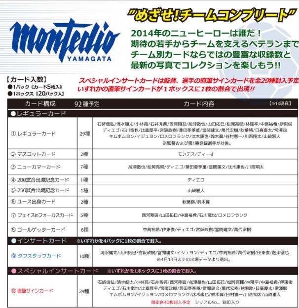 2014 Jリーグ カード チームエディション・メモラビリア モンテディオ山形 BOX