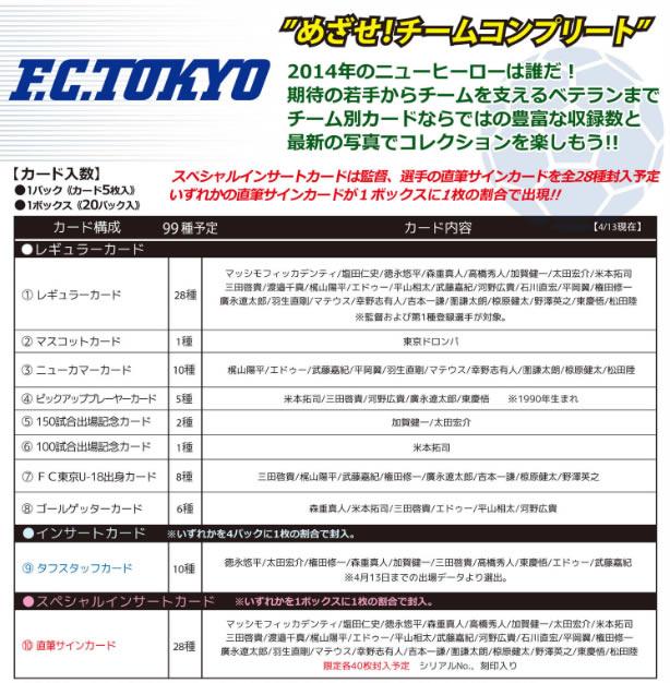 2014 Jリーグ カード チームエディション・メモラビリア FC東京 BOX