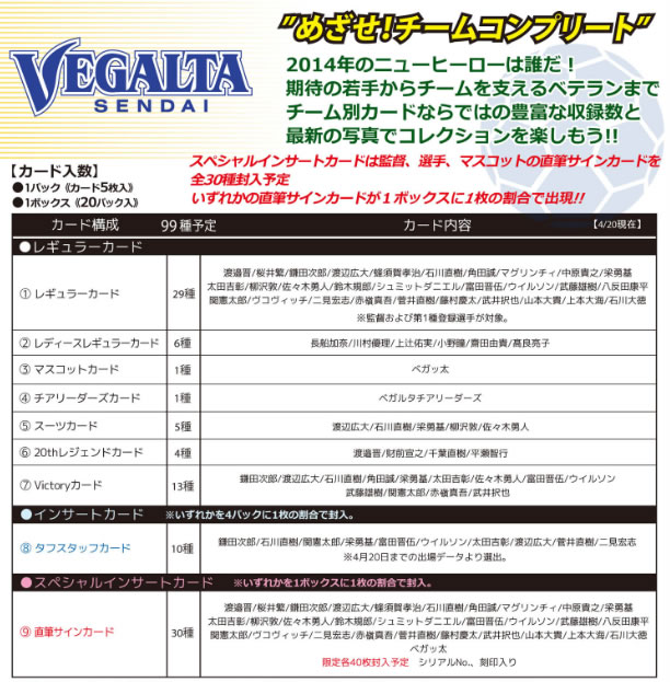 ■セール■2014 Jリーグ カード チームエディション・メモラビリア ベガルタ仙台 BOX