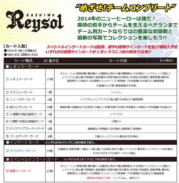 2014 Jリーグ カード チームエディション・メモラビリア 柏レイソル BOX