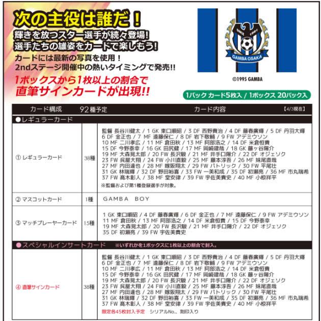 2016 Jリーグ カード チームエディション・メモラビリア ガンバ大阪 BOX