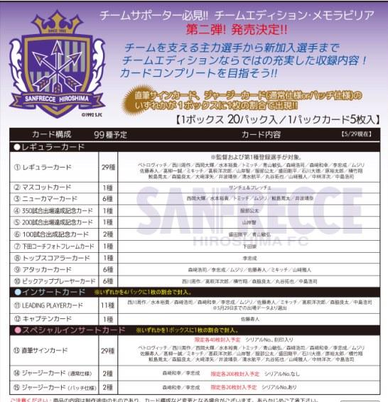 2011 Jリーグ カード チームエディション・メモラビリア サンフレッチェ広島