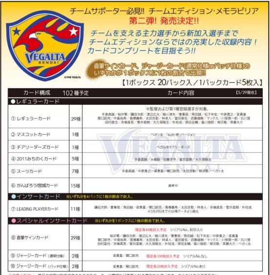 2011 Jリーグ カード チームエディション・メモラビリア ベガルタ仙台