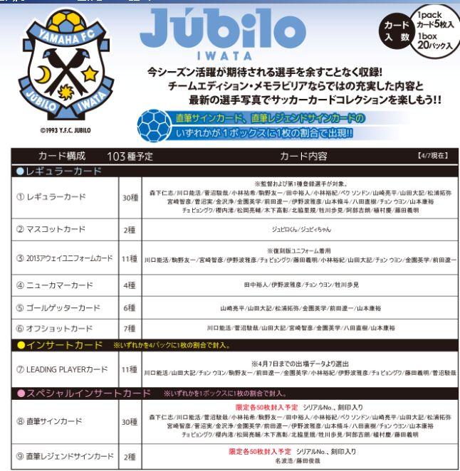 2013 Jリーグ カード チームエディション・メモラビリア ジュビロ磐田 BOX