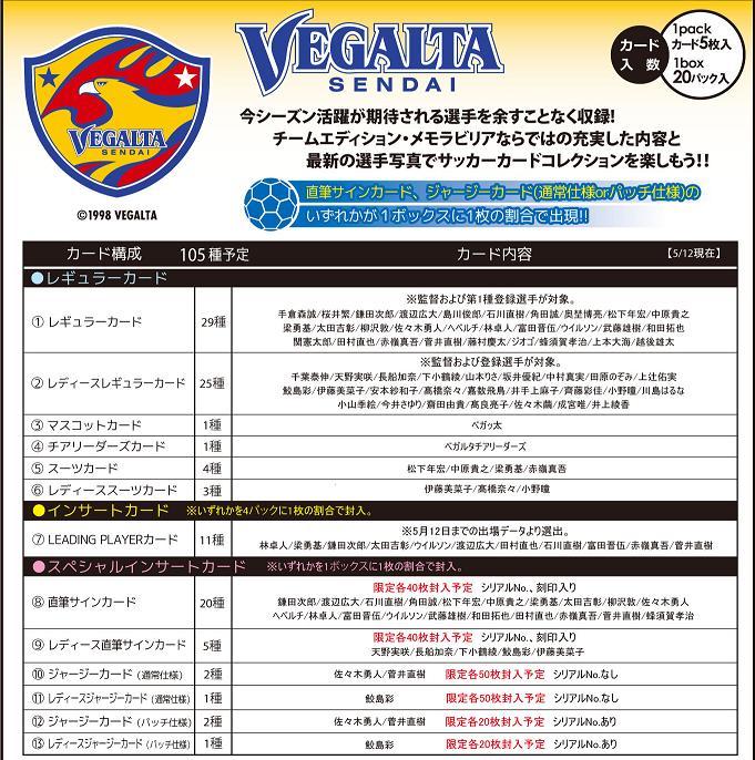2013 Jリーグ カード チームエディション・メモラビリア ベガルタ仙台 BOX