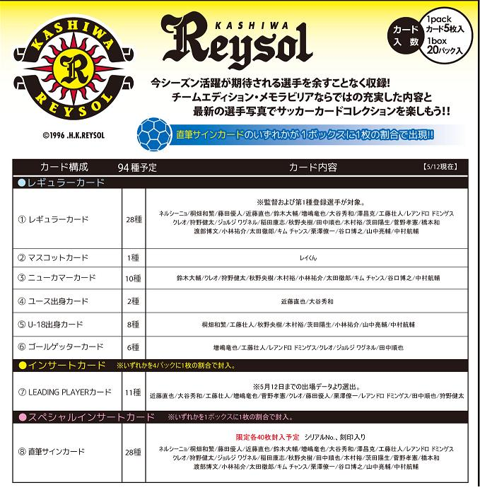 2013 Jリーグ カード チームエディション・メモラビリア 柏レイソル BOX