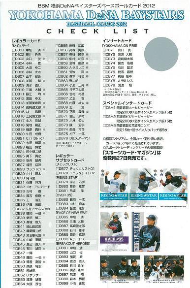 BBM 横浜DeNAベイスターズ 2012 BOX