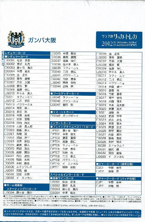 2012 Jリーグ カード チームエディション・メモラビリア ガンバ大阪 BOX