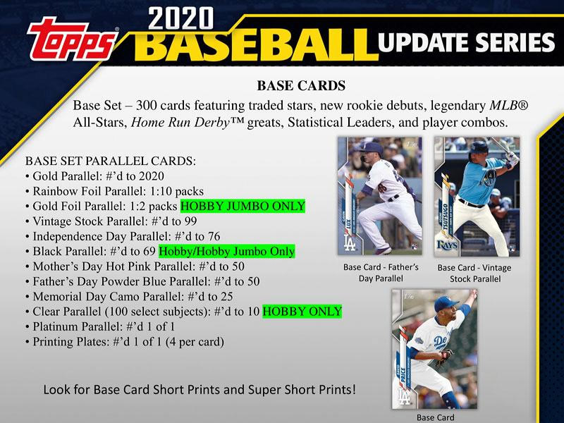 MLB 2020 TOPPS UPDATE BASEBALL HOBBY BOX