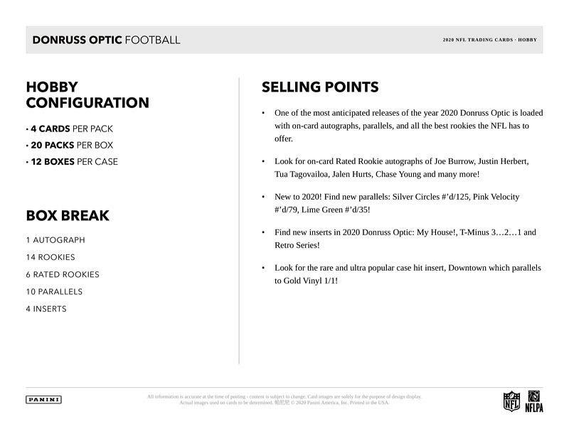 NFL 2020 DONRUSS OPTIC FOOTBALL HOBBY BOX