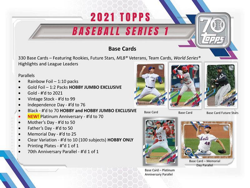 MLB 2021 TOPPS BASEBALL SERIES 1 HOBBY BOX