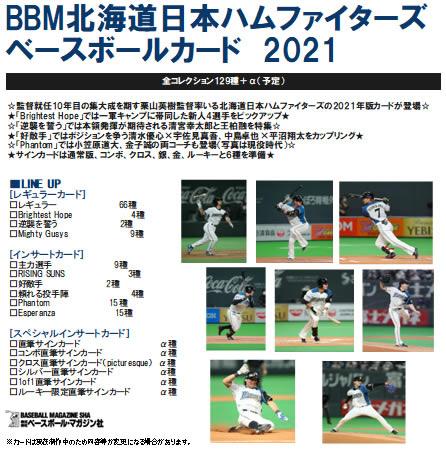 (予約)BBM 北海道日本ハムファイターズ ベースボールカード 2021 BOX(送料無料) 4月上旬発売予定