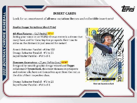 MLB 2021 TOPPS BOWMAN CHROME BASEBALL HOBBY BOX(送料無料)