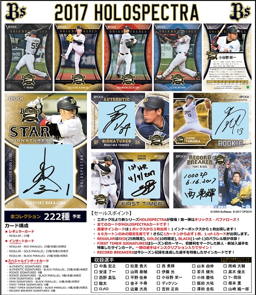 EPOCH ベースボールカード 高級版 2017 オリックス・バファローズ・ホロスペクトラ