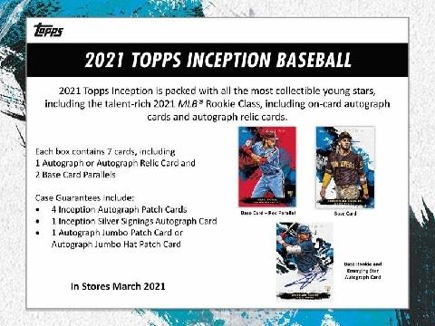 MLB 2021 TOPPS INCEPTION BASEBALL