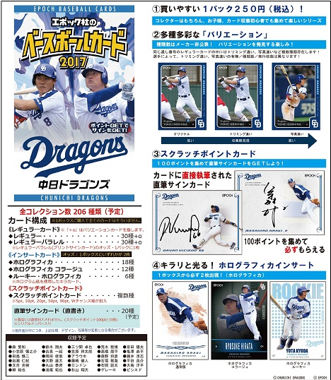 EPOCH ベースボールカード 2017 中日ドラゴンズ BOX