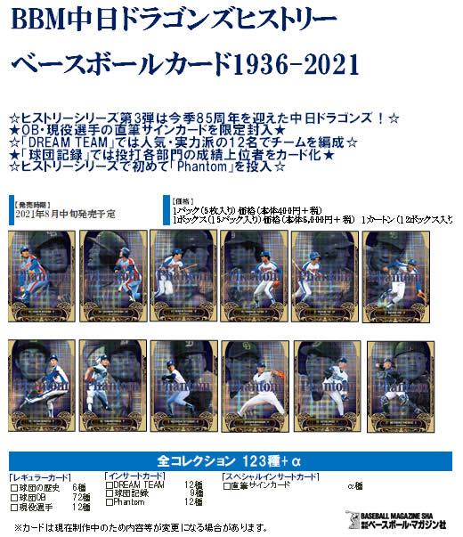 BBM 中日ドラゴンズヒストリー ベースボールカード 1936-2021 BOX(送料無料)