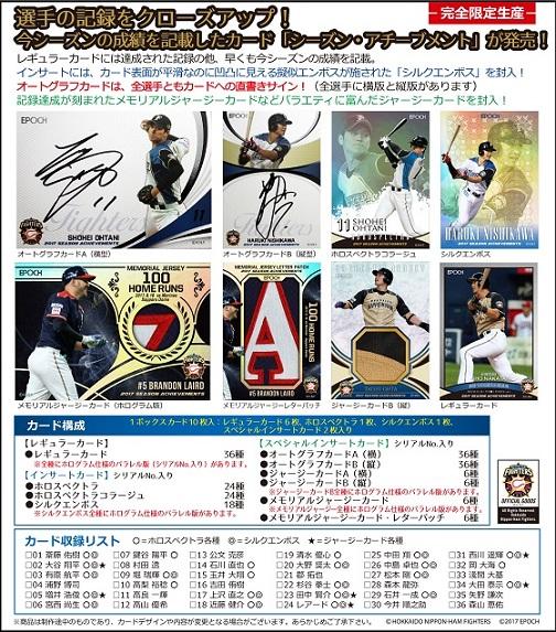 EPOCH ベースボールカード 高級版 2017 北海道日本ハムファイターズ シーズン・アチーブメント