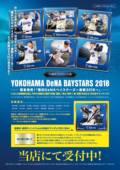 球団公認「横浜DeNAベイスターズ〜激闘2018〜」トレーディングmini色紙 BOX