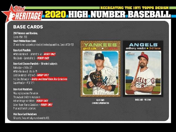 MLB 2020 TOPPS HERITAGE HIGH NUMBER BASEBALL HOBBY BOX