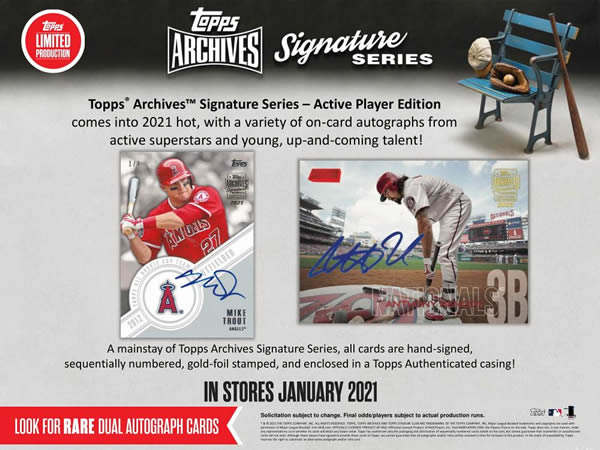 MLB 2021 TOPPS ARCHIVES SIGNATURE SERIES ACTIVE PLAYER EDITION