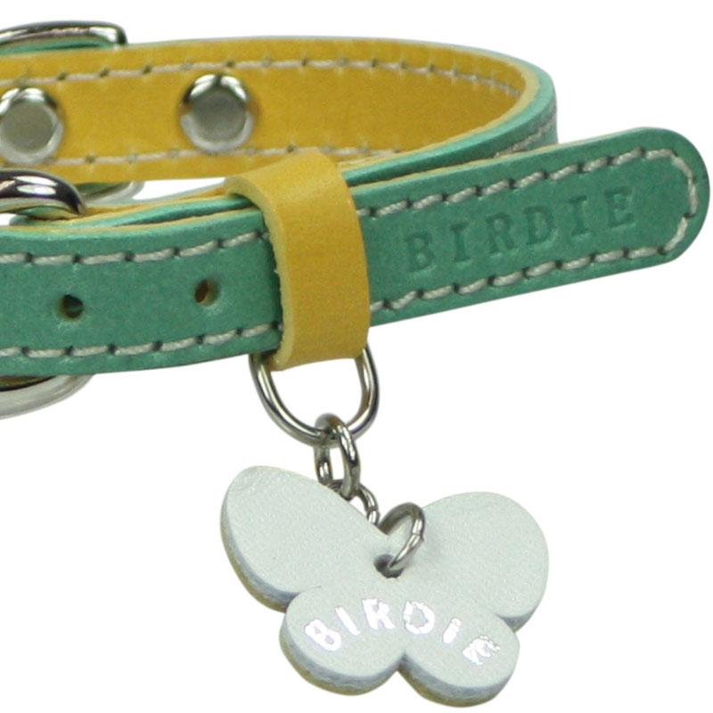 21 カラフルレザーバイカラー【BIRDIE小型犬・猫革首輪】