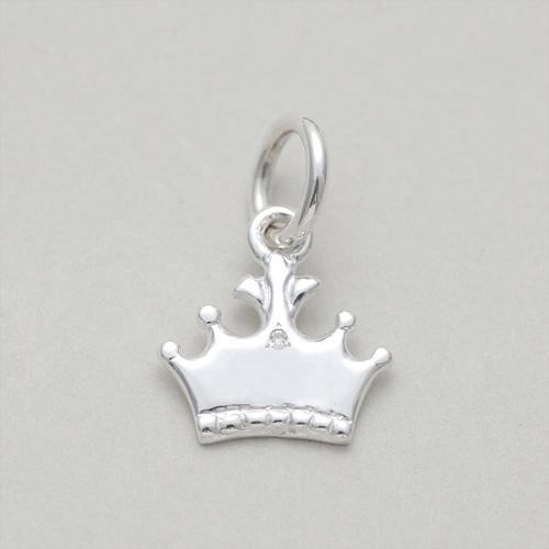 【送料無料】【シルバー925&ダイヤモンド迷子札】王冠(小)ダイヤ1石入り