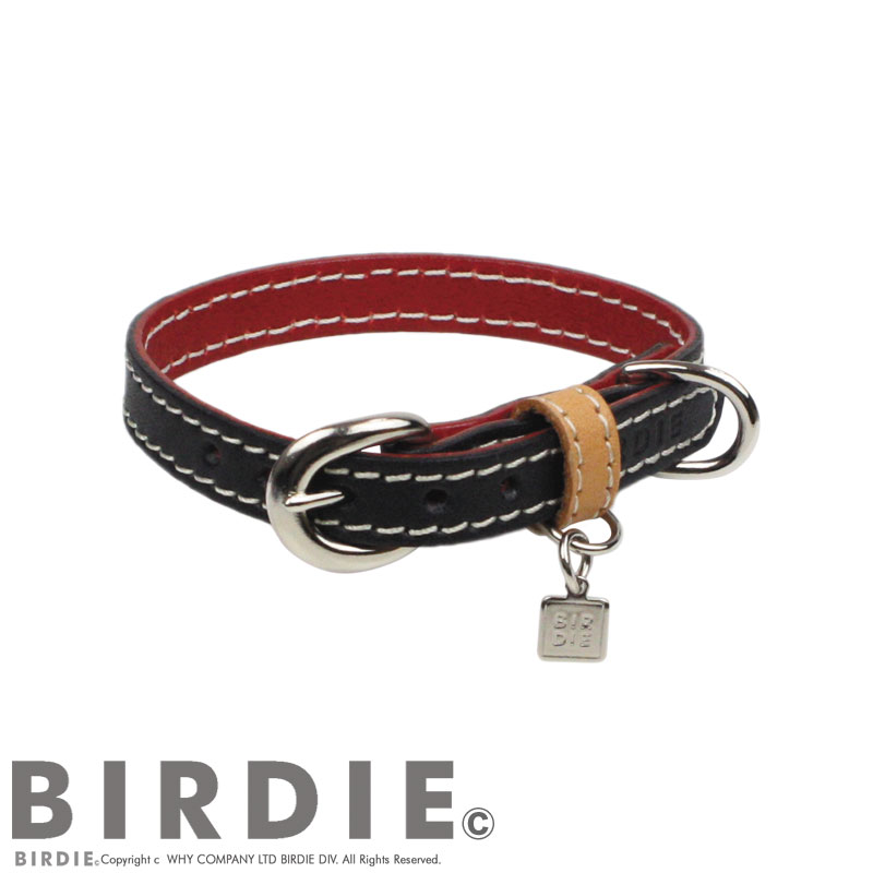 25 フラットレザーバイカラー【BIRDIE小型犬・猫革首輪】