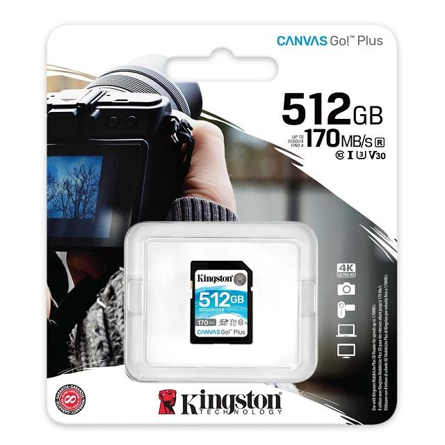 【メーカー取り寄せ】キングストン SDXCカード 512GB Canvas Go!Plus Class 10 U3 V30 SDG3/512GB