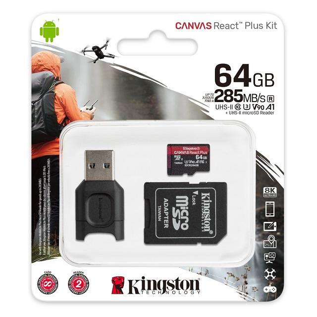 キングストン microSDXCカード 64GB Canvas React Plus Class 10 U3 V90 A1 SDカードアダプタ付 MLPMR2/64GB