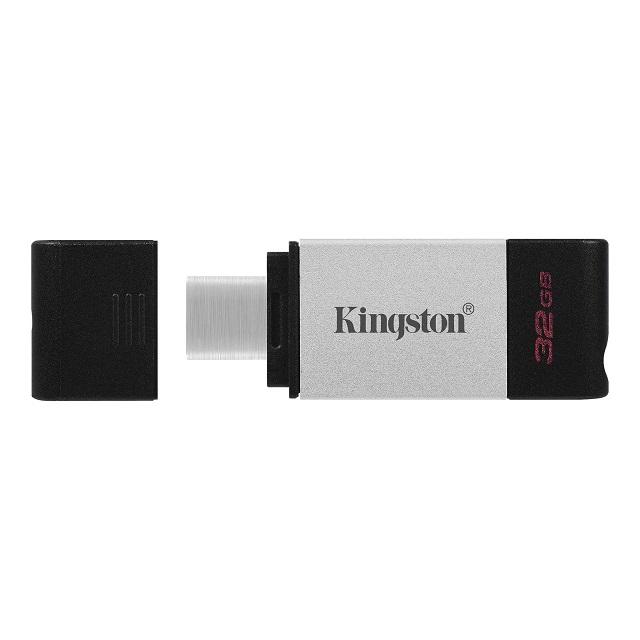 【メーカー取り寄せ】キングストン DataTraveler 80 USBメモリ Type-C USB3.2 Gen1 32GB シルバー DT80/32GB