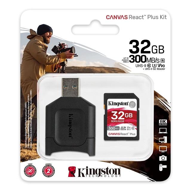 【メーカー取り寄せ】キングストン SDXCカード Canvas React Plus SD Class 10 UHS-II U3 V90 32GB MLPR2/32GB