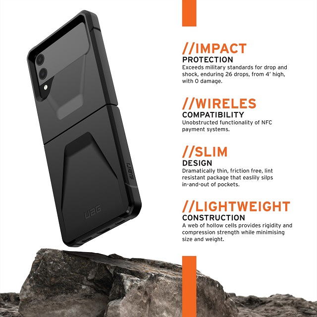 UAG Galaxy Z Flip3用ケース CIVILIAN ソリッドデザイン 全3色 耐衝撃 UAG-GLXZFLP3Cシリーズ