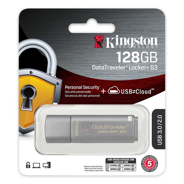 【メーカー取り寄せ】 キングストン DT Locker+ G3暗号化USBフラッシュドライブ 128GB ハードウェア暗号化 パスワード保護 DTLPG3/128GB