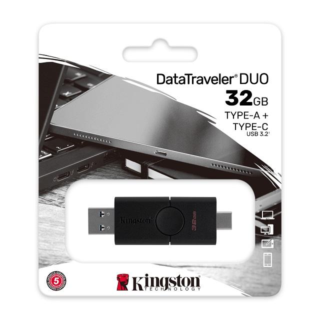 【メーカー取り寄せ】キングストン DataTraveler Duo USBフラッシュドライブ USB 3.2 Gen1 32GB ブラック DTDE/32GB