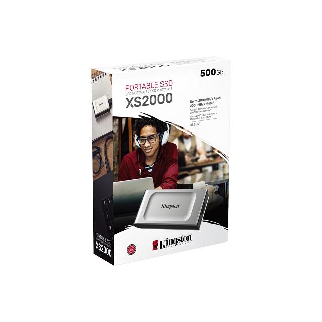 【メーカー取り寄せ】キングストン ポータブル外付けSSD 500GB XS2000シリーズ USB 3.2 Gen 2x2 高耐久 IP55 SXS2000/500G
