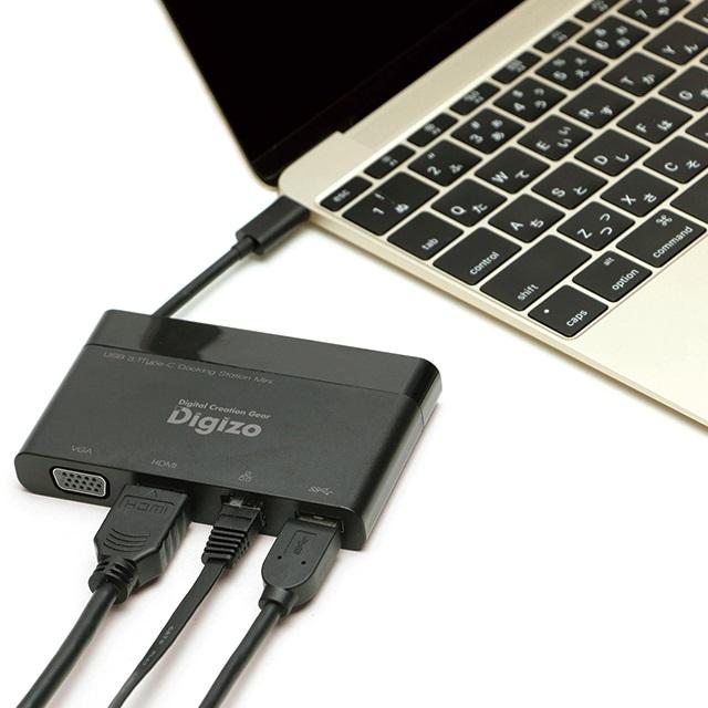USB Type-C対応ドッキングステーションミニ 4ポート Win/Mac対応 USB-A/ HDMI(4K)/ VGA/ LAN ポート搭載  PUD-CDOCM