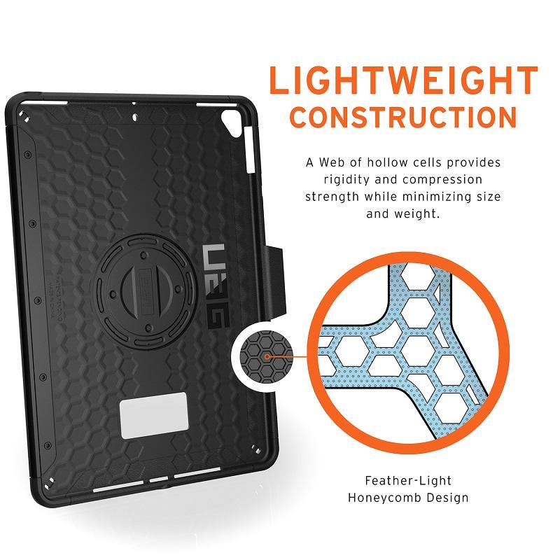UAG iPad (第8/第7世代)用 SCOUTケース(ハンドストラップ) ブラック 耐衝撃 回転式ハンドベルト付き UAG-IPD7SHS-BK