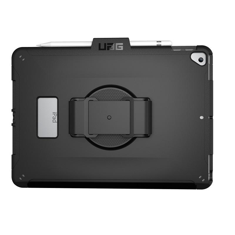 UAG iPad (第9/第8/第7世代)用 SCOUTケース(ハンドストラップ) ブラック 耐衝撃 回転式ハンドベルト付き UAG-IPD7SHS-BK