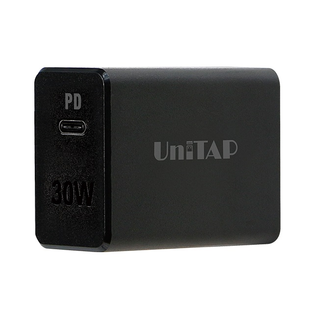 Unitap PD30W対応 窒化ガリウム採用 超急速充電器 ブラック PD3.0対応type-c 1ポート PPS-PD30G