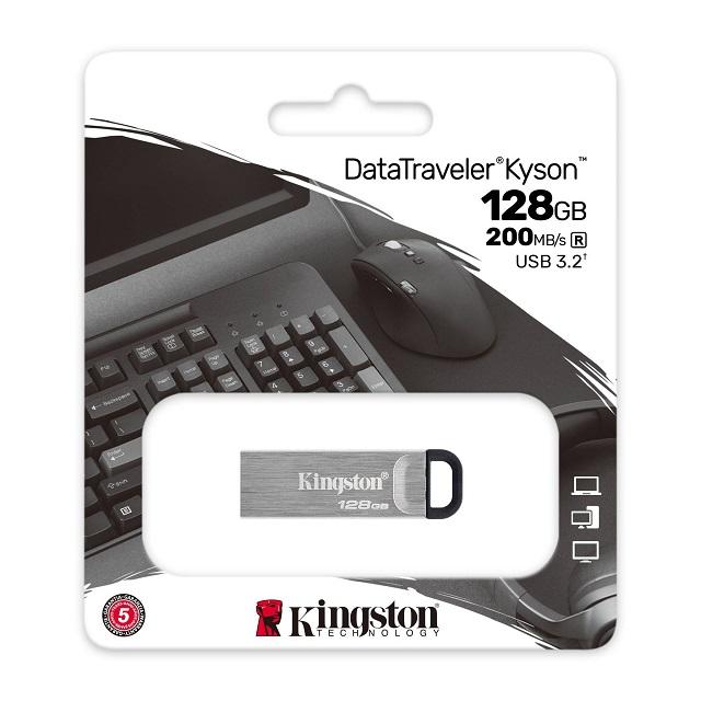 【メーカー取り寄せ】キングストン DataTraveler Kyson USBフラッシュドライブ USB 3.2 Gen1 128GB シルバー DTKN/128GB