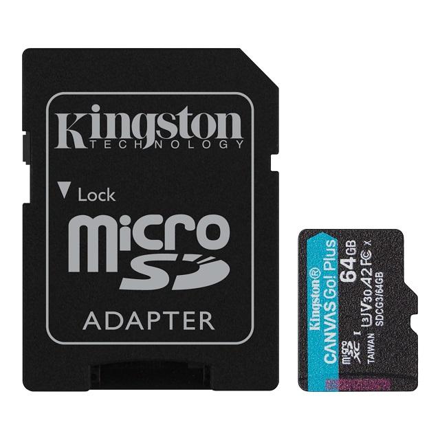 【メーカー取り寄せ】キングストン microSDXCカード Canvas Go! Plus Class10 U3 V30 A2 64GB SDカードアダプタ付 SDCG3/64GB