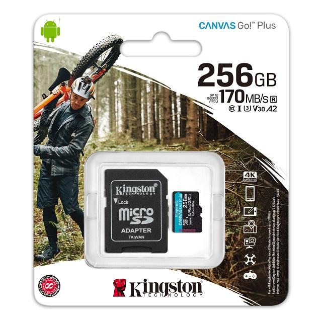 キングストン microSDXCカード Canvas Go! Plus Class10 U3 V30 A2 256GB SDカードアダプタ付 SDCG3/256GB
