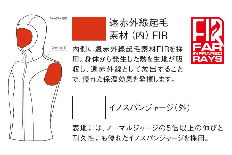 フードベスト GULL/ガル 2mm×3mm FIRフードベスト3 ウィメンズ GW-6628
